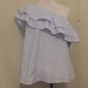 NWT Poplin Ruffle top by Halogen